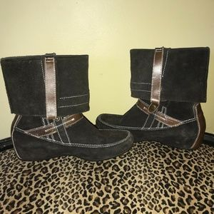 Henry Ferrera Suede Moccasin Cuff Boho Boots 6.5